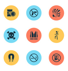 Sign icons set with poison keep door closed vector