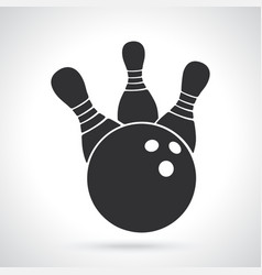 silhouette bowling ball knocks down pins vector image