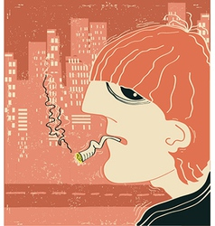 Smoking man in big city vector