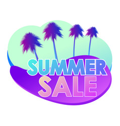 summer sale liquid abstract shapes and palm trees vector image