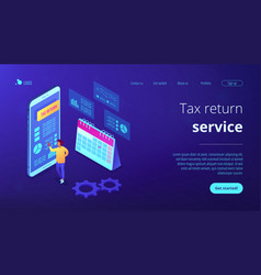 Tax return service isometric 3d landing page vector