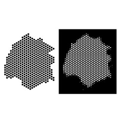 Thassos greek island map honeycomb abstraction vector
