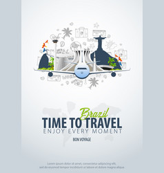 Travel to brazil time to travel banner with vector