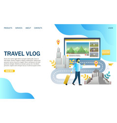 travel vlog website landing page design vector image