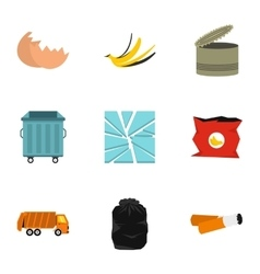 Waste icons set flat style vector