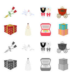 Wedding and attributes cartoonmonochrome icons in vector