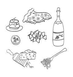 Wine with italian food menu vector