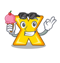 With ice cream cartoon multiply of a delete sign vector