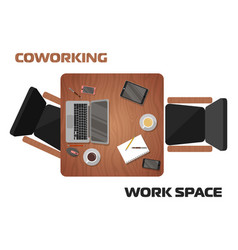 workplaces in coworking space for two people vector image