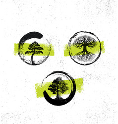 Zen tree collection forest fog happiness painting vector