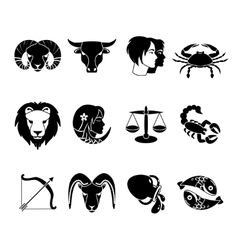 Zodiac signs icons set black vector