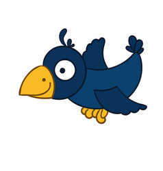 Awesome cartoon flying crow vector