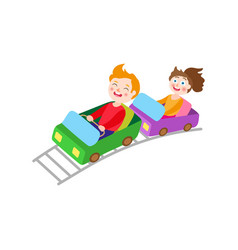 flat children riding on roller coaster vector image vector image