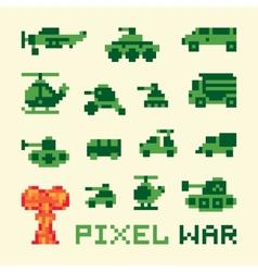 Pixel art war machines set vector image