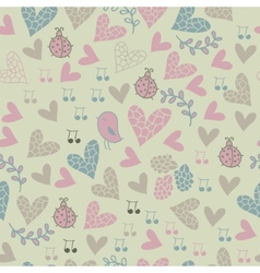 Romantic seamless pattern with birds flowers vector image vector image
