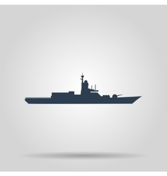 Silhouette of a large warship concept vector image