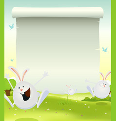 Spring easter bunnies background vector