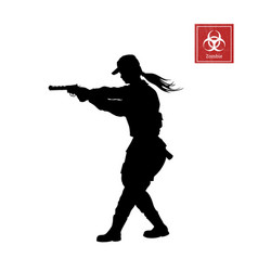 black silhouette of police woman with gun vector image
