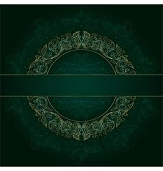 Floral gold frame with vintage patterns on green vector image vector image