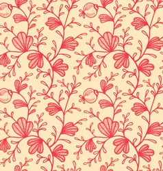 floral pattern retro red vector image vector image