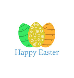 happy easter easter eggs on a white background vector image vector image