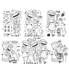 little girls outline doodle collection vector image