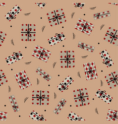 pattern with cute presents vector image