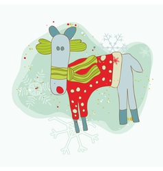 retro christmas reindeer card vector image vector image