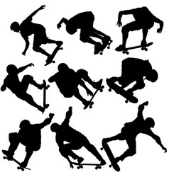 set black silhouette of an athlete skateboarder in vector image