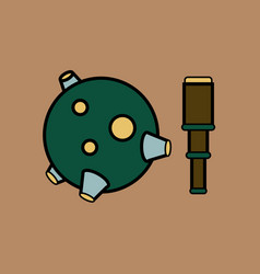 Flat icon design collection satellite and spyglass vector
