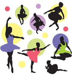 set ballet silhouettes vector image