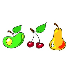 apple cherry pear vector image vector image