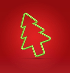 Festive wire tree xmas on red vector image vector image