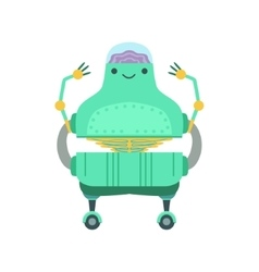 Friendly android robot character with transparent vector
