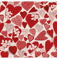 Grunge heart seamless pattern vector image