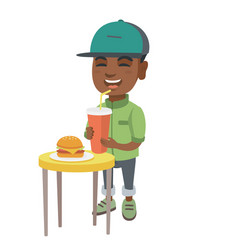 little boy drinking soda and eating cheeseburger vector image
