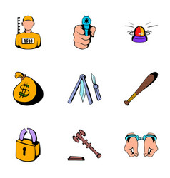 prison icons set cartoon style vector image