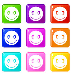 smiling emoticons 9 set vector image vector image
