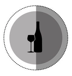 sticker monochrome circular emblem with bottle and vector image