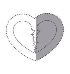 sticker monochrome silhouette of broken heart vector image