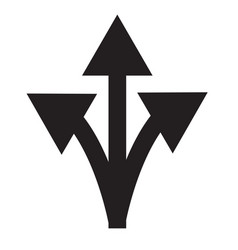three-way direction arrow sign on white vector image