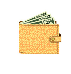 wallet with dollars icon realistic style vector image
