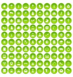 100 church icons set green circle vector