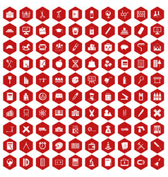 100 pensil icons hexagon red vector