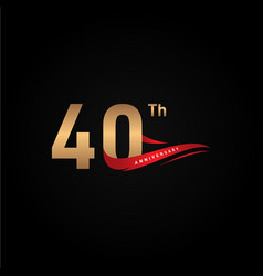 40th ribbon anniversary numbers for celebrate vector
