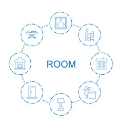 8 room icons vector