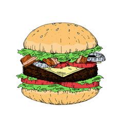 A piece of yummy hamburger vintage look hand draw vector