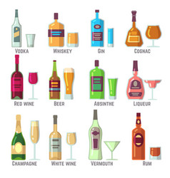 alcoholic drinks in bottles and glasses flat vector image