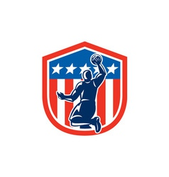 American Basketball Player Dunk Rear Shield Retro vector image