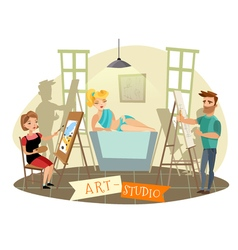 Art studio creative process cartoon vector